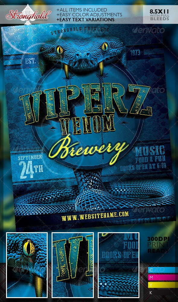 Viper Venom Brewery Flyer Template - Clubs & Parties Events