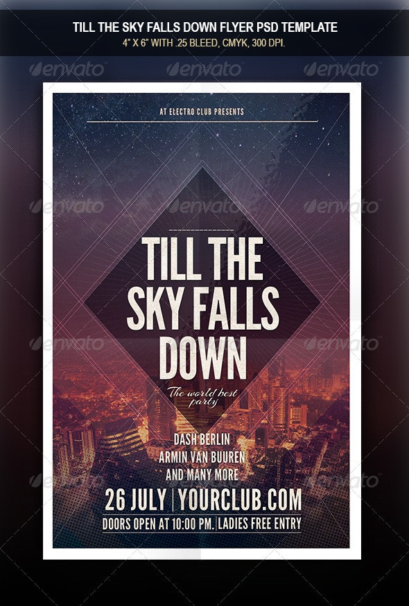 Till The Sky Falls Down Flyer - Clubs & Parties Events
