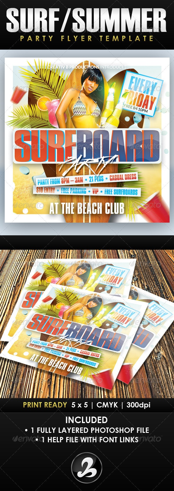 Surfboard Party Flyer Template - Clubs & Parties Events