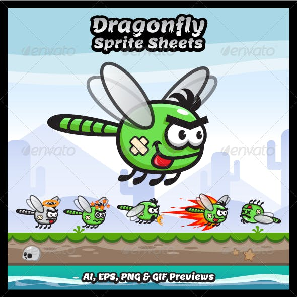 Dragonfly Game Character Sprite Sheets