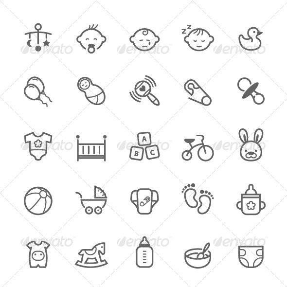 25 Outline Stroke Baby Icons - Objects Icons