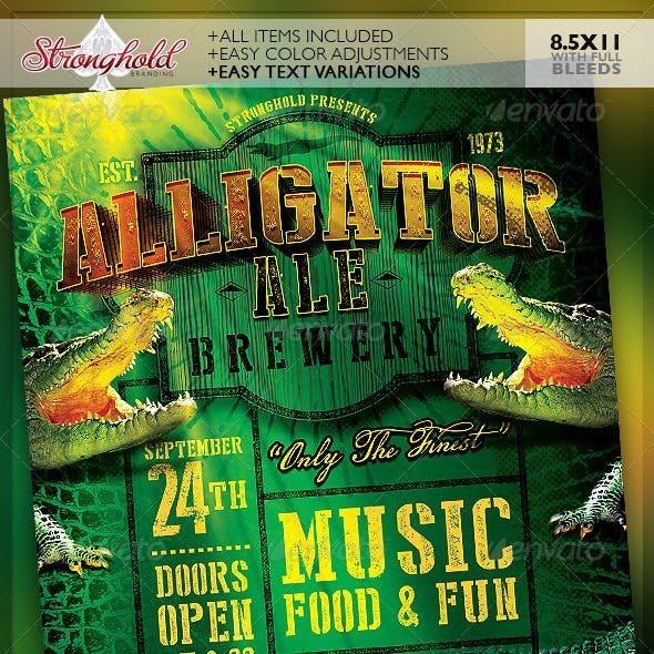 Alligator Ale Brewery Flyer Template