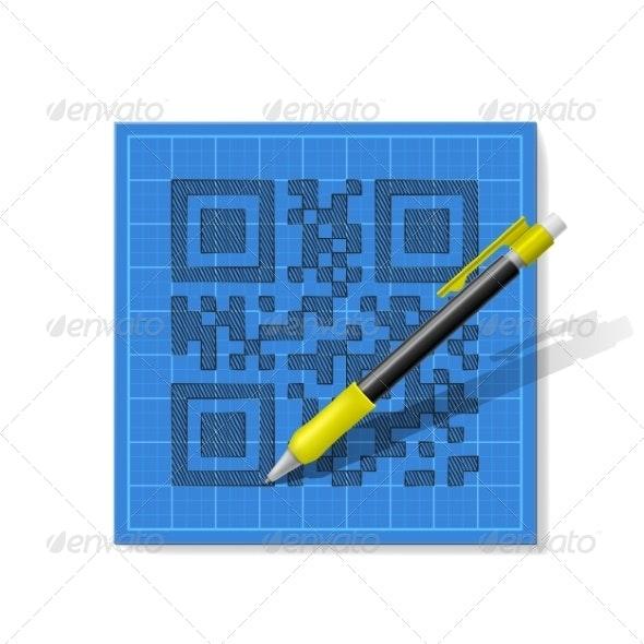 Sketch QR-Code - Computers Technology