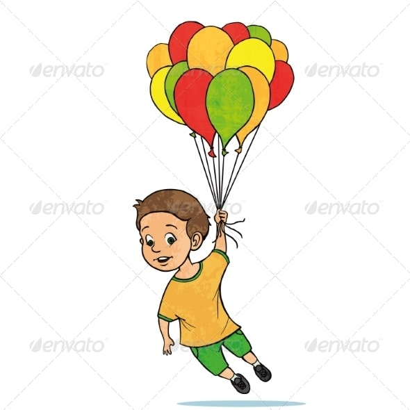 Young Boy Flying with Balloons - People Characters