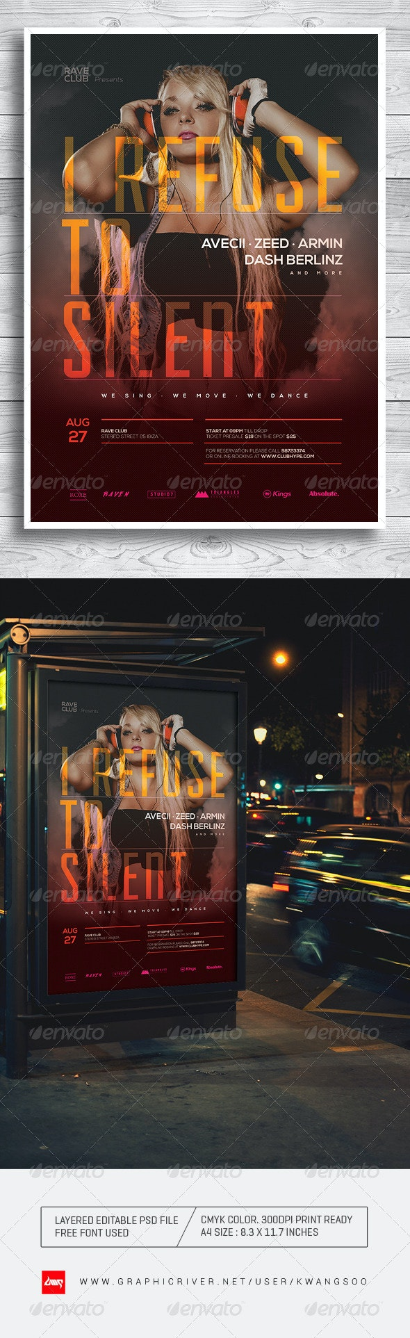 Trance Electro Music Poster / Flyer Template - Clubs & Parties Events