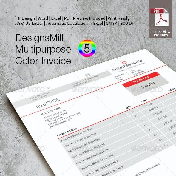 DesignsMill 5 Color Invoice