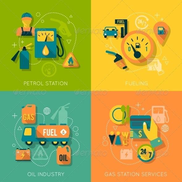 Set of Gasoline Station Composition - Industries Business
