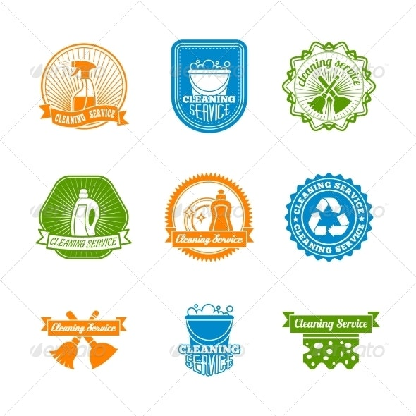 Set of Colored Cleaning Labels - Services Commercial / Shopping