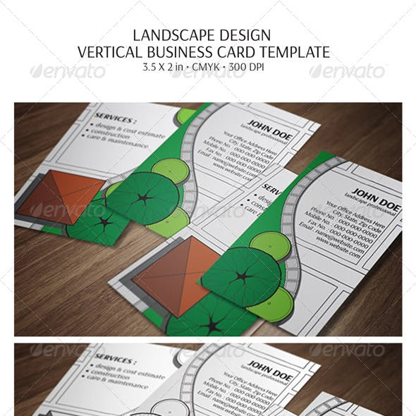 Landscape Design Vertical Business Card Template By Wolf Eye