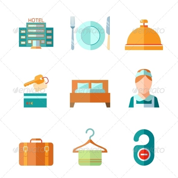 Set of Hotel Icons - Services Commercial / Shopping