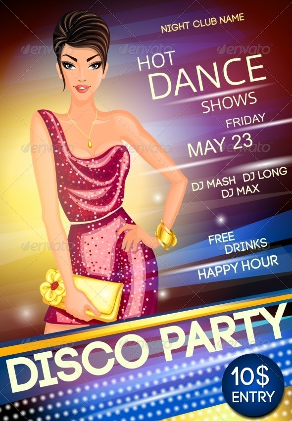 Disco Party Poster - People Characters