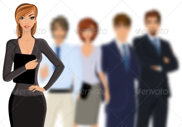 Busines Woman with Business Team - Concepts Business