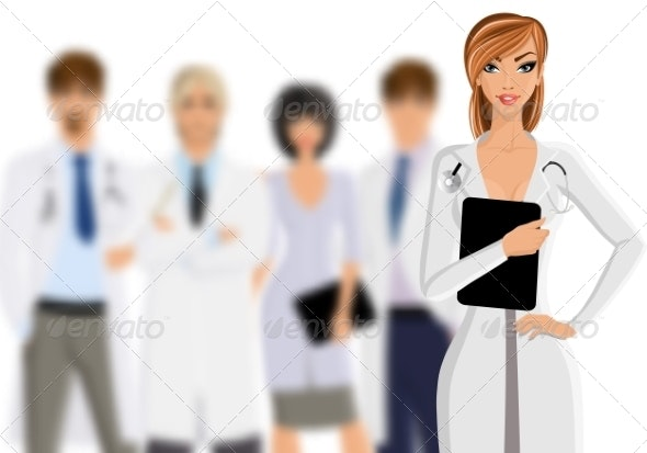 Doctor with Medical Staff - Health/Medicine Conceptual
