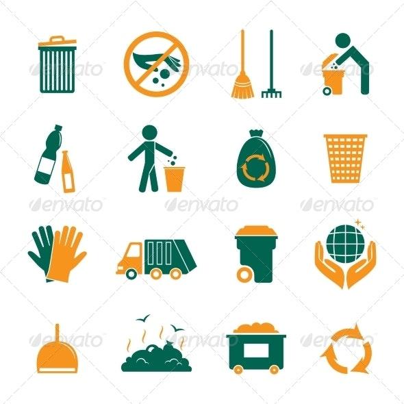 Garbage Icons Set - Web Technology