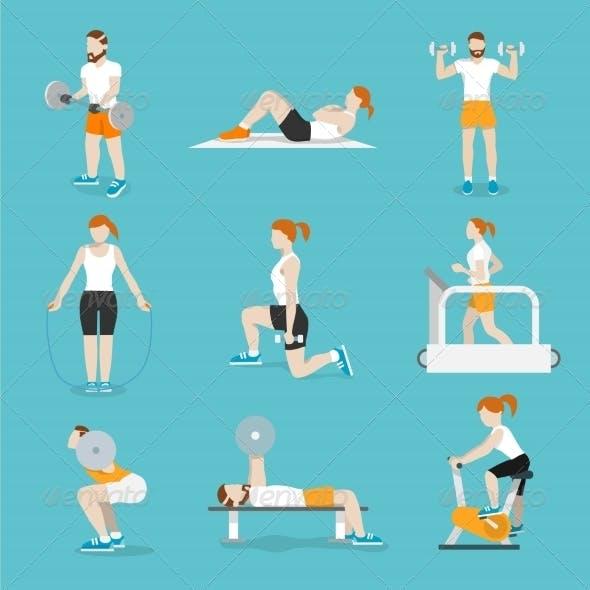 People Gym Exercises Icons Set