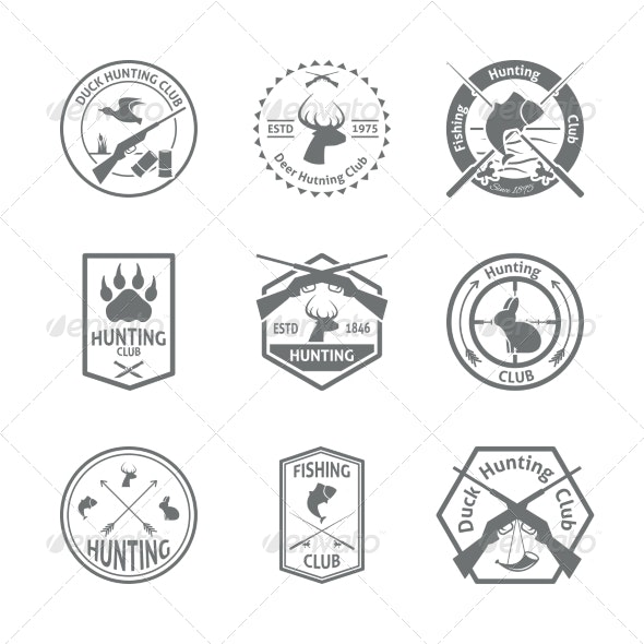 Set of Hunting Label - Sports/Activity Conceptual