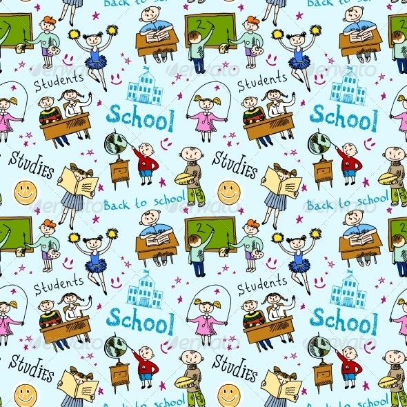 Seamless Pattern with Kids - Backgrounds Decorative