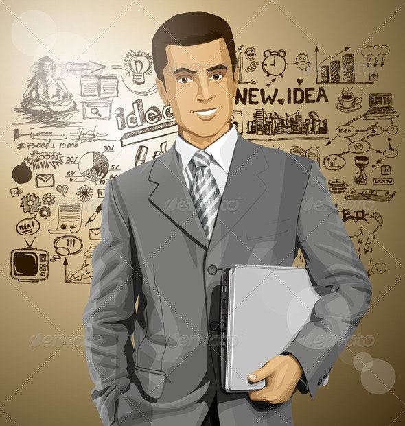 Businessman with Laptop - People Characters