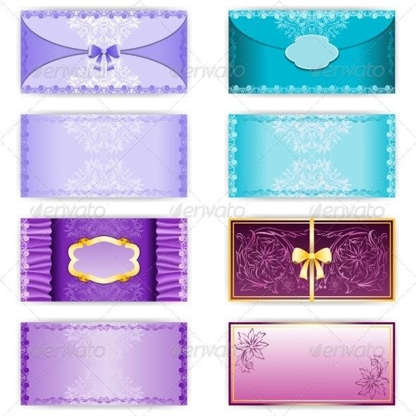 Vintage Set of Horizontal Invitation Cards - Backgrounds Decorative