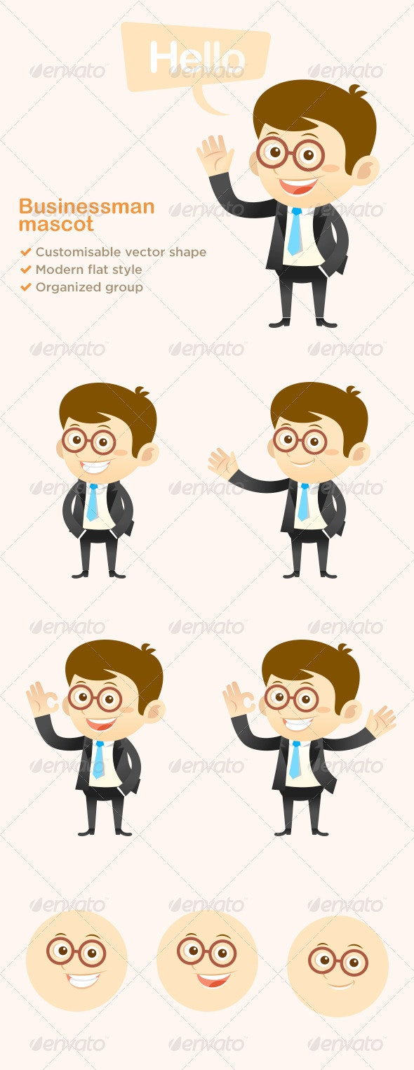 Modern Business Man Mascot  - People Characters