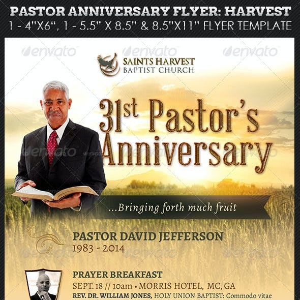 Pastor Anniversary Harvest Church Flyer Template