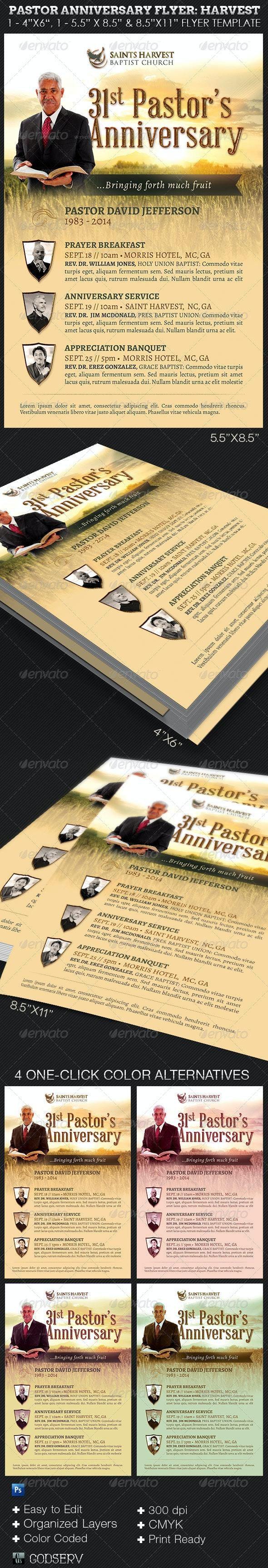 Pastor Anniversary Harvest Church Flyer Template - Church Flyers