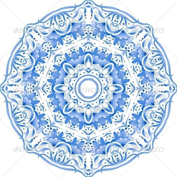 Blue Floral Ornament Circle - Patterns Decorative