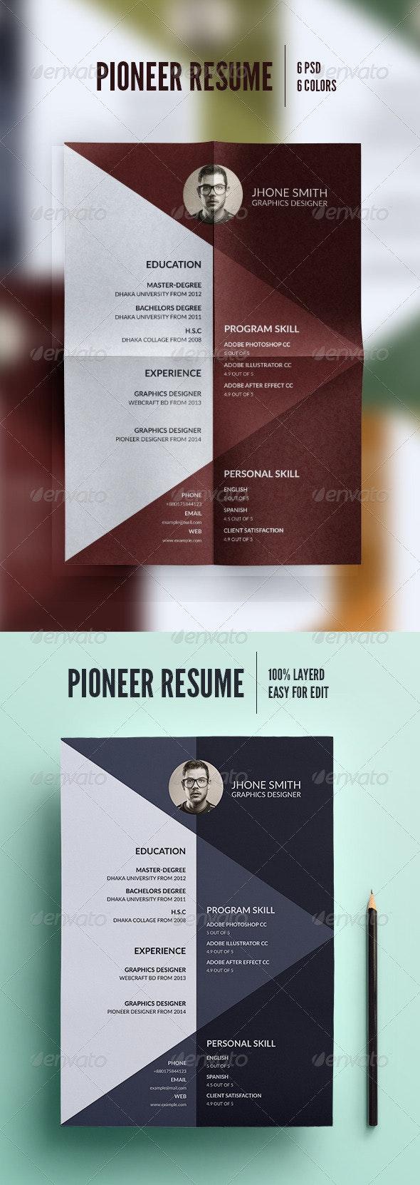 Pioneer Resume - Resumes Stationery