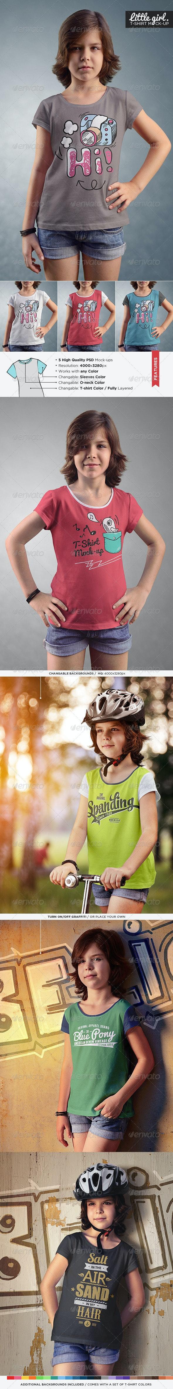 Little Girl / T-Shirt Mock-Up - T-shirts Apparel
