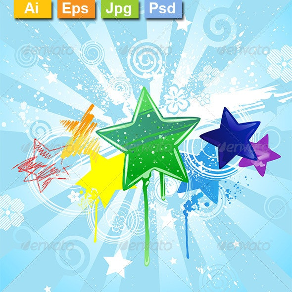 Painted Stars - Backgrounds Decorative