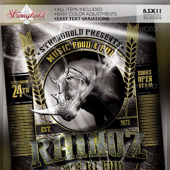 Rhino Rye Brewery Flyer Template