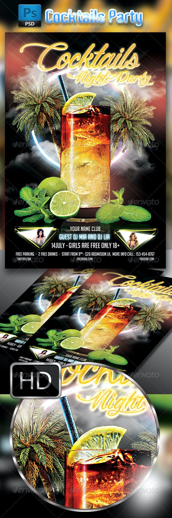 Cocktail Party Flyer Template #3 - Clubs & Parties Events
