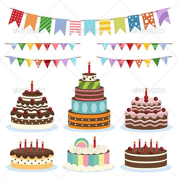 Colorful Birthday Banners and Cakes - Birthdays Seasons/Holidays