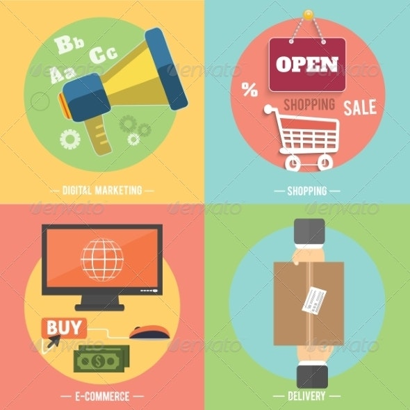 Icons for Ecommerce, Delivery, Online Shopping - Concepts Business