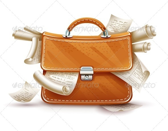 Leather Briefcase Full of Papers and Documents - Concepts Business