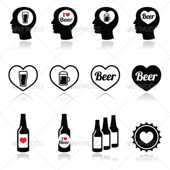 Man Loving Beer Vector Icons Set - Food Objects