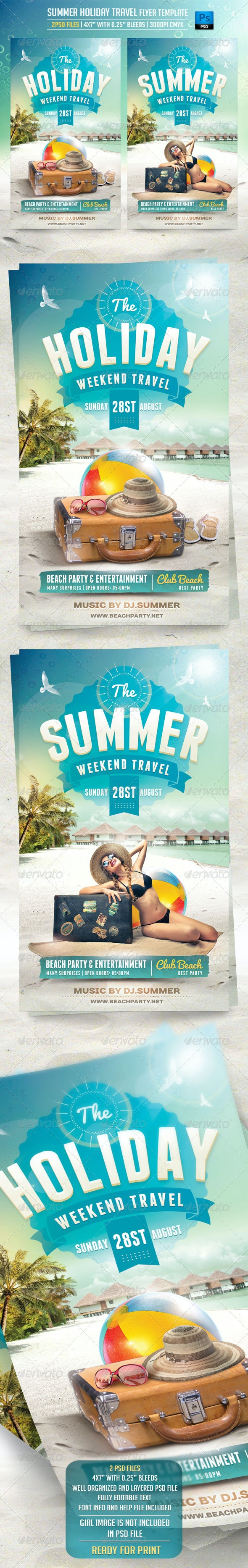 Summer Holiday Travel Flyer Template - Flyers Print Templates