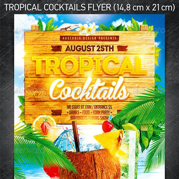 Tropical Cocktails Party Flyer