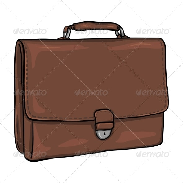 Vector Cartoon Briefcase - Man-made Objects Objects