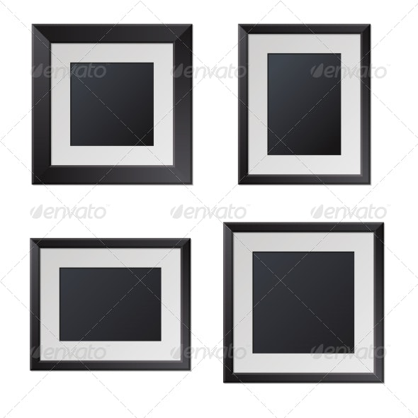 Realistic Black Picture Frames with Blank Center.  - Borders Decorative