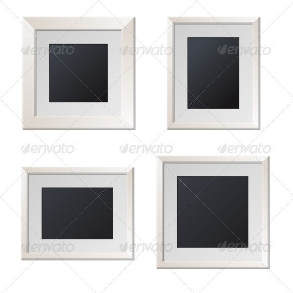 Realistic White Picture Frames with Blank Center.  - Borders Decorative