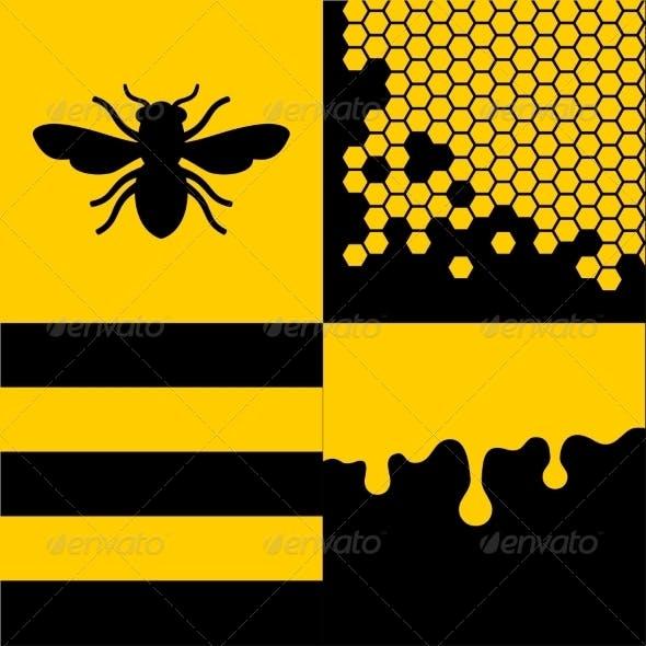 Bee Honeycells and Honey Patterns Set