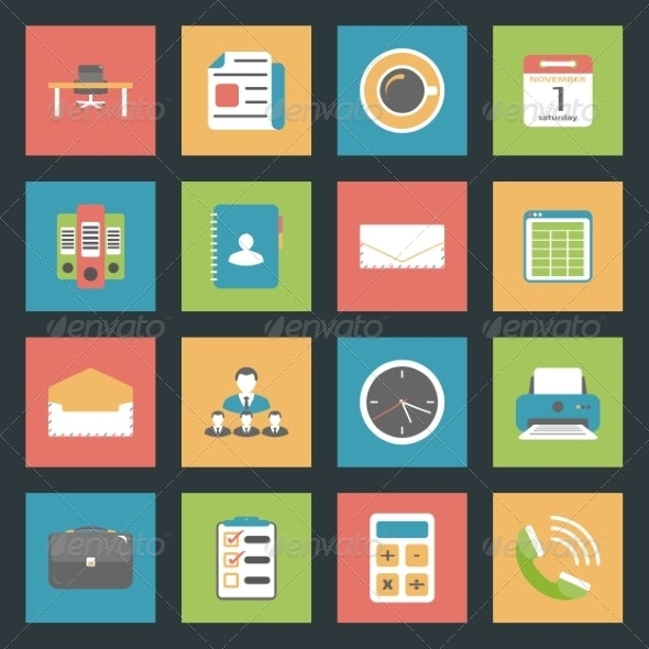 Office Flat Icons Set - Web Technology