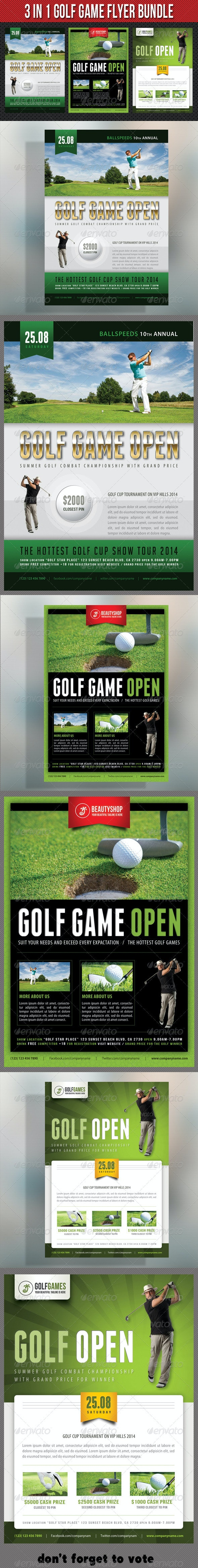 3 in 1 Golf Game Flyer Bundle 03 - Sports Events