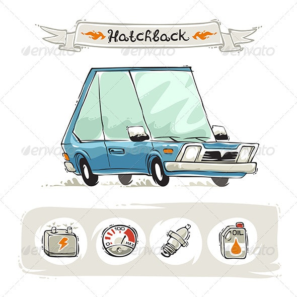 Retro Small Hatchback Set - Man-made Objects Objects