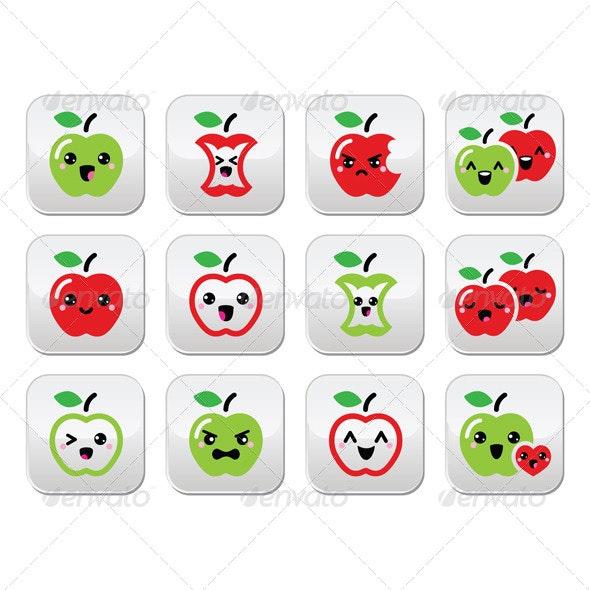 Kawaii Apple Buttons - Food Objects