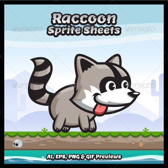 Raccoon Game Character Sprite Sheets