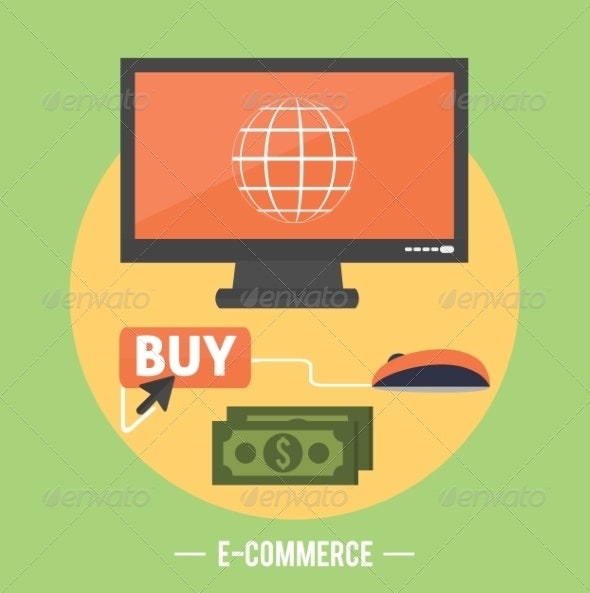 Ecommerce Infographic Concept of Purchasing - Computers Technology
