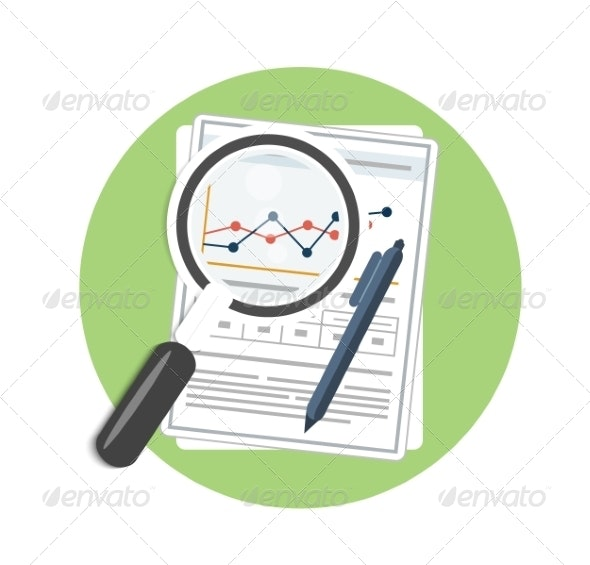 Magnifying Glass and Chart - Concepts Business