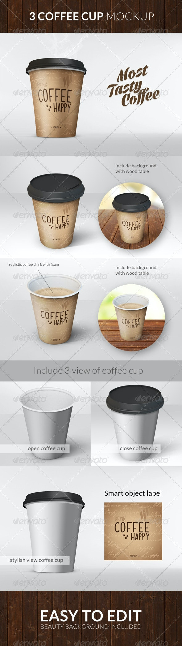 Realistic Coffee Cup Mock Up - Food and Drink Packaging